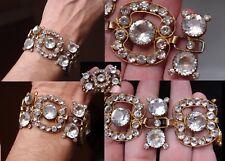 Empire Lrg Paste Ormulu Gilded Bracelet Fab Antique Victorian Foiled Back French