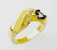 14KT YELLOW GOLD FABULOUS! LADIES TANZANITE AND DIAMONDS  RING (10760)