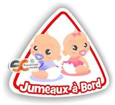Jumeaux à Bord - Garçon / Fille - Sticker Autocollant bébé à bord - Modèle 3