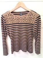 *MADEMOISELLE* Saint James Womens Striped Shirt Brown Blue Striped Size 8