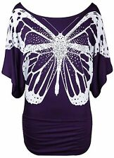 New Ladies Glitter Butterfly Print Tops Womens Batwing Short Sleeve T-Shirt Top