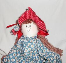 Vintage handcrafted fabric cloth doll soft body flowered dress long legs 30""