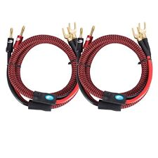 Audiophile Amplifier Speaker Cable with Banana to Spade Y Plug OFC 2M A Pair