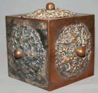 1885 RUSSIAN EMPIRE ORNATE COPPER BOX CUBE WITH DOUBLE HEADED EAGLE MARKINGS