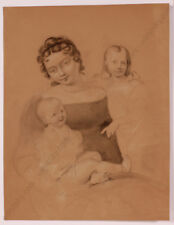 """Study to portrait of a lady with two children"", Austrian Drawing, 1820s"