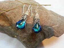with Swarovski Prom, Grads, Mom gifts Bermuda Blue Earrings in Heirloom Filigree