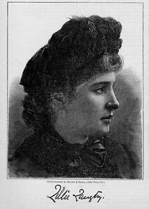 LILLIE LANGTRY, JERSEY LILLY ANTIQUE ENGRAVING, LANGTRY