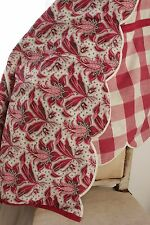 Antique French vichy + embroidered look valance textile red printed and woven