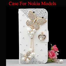 Glitter Diamond butterfly Leather Flip Wallet Stand Card Slot Case For Nokia