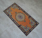 """Vintage Distressed Small Area Rug Hand Knotted Oushak Rugs Yastik -1'7""""x3'5"""""""