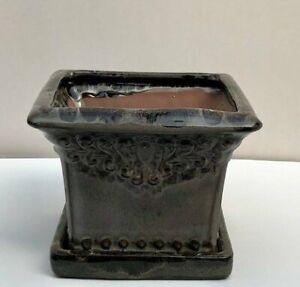 """Ceramic Marbled Brown Bonsai Pot Square W/ Drip Tray 6.25"""" x 6.25"""" x 4.5"""" Tall"""
