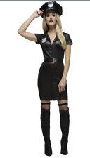 Women's Sexy Police Woman Fancy Dress Costume Hen Night Fun Black UK 8-10 Size S