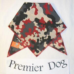 Funky Red Camouflage Dog Bandana - slips onto the collar - 2 sizes available