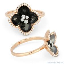 Right-Hand Flower Ring 14k Rose Gold 0.22ct Round Brilliant Cut Diamond & Enamel