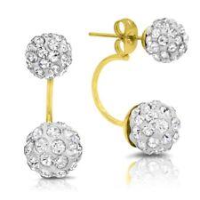Stainless Steel Gold Double Pave Cz Fire Balls Hoop Stud Earrings Ear Jackets F