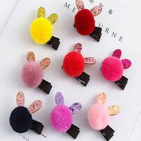 Baby Girls Rabbit Shaped Hair Clips Fashion Kids Girls Wool Ball Hairpin AU