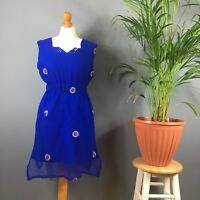 Blue Gold Embroidered Sequin Flowers Indian Hippy Boho Sleeveless Dress 8 10