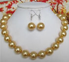 """12MM golden South Sea shell pearl necklace earrings 18"""""""