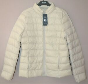 M&S LIGHTWEIGHT DOWN & FEATHER JACKET CONCEALED HOOD & STORMWEAR SIZE 14 - BNWT