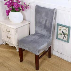 Silver Grey Velvet Stretch Chair Covers Set of 4 Slip On Large Dining Room Table