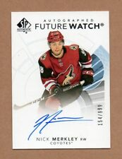 2017-18 SP Authentic Nick Merkley Future Watch Autograph Rookie Card 154/999
