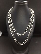 """Sterling Silver Heavy Curb Link Necklace 24 1/2"""""""