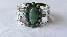 Lovely Vintage Native American Sterling Silver Green Turquoise Cuff Bracelet