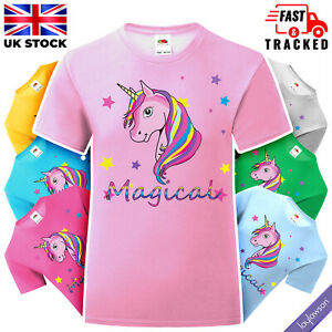 Girls Pink Magical Rainbow Unicorn T-Shirt Kids Stars Pony & Horse Tee Top