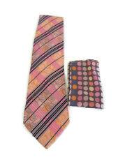 STEVEN LAND Necktie Men's Silk Pink Purple Polka Dot Stripe Paisley & Hanky NEW
