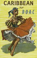 "Vintage Illustrated Travel Poster CANVAS PRINT Caribbean Boac 8""X 12"""