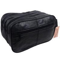 New OakRidge Mens Large Soft Black Leather Toiletry WashBag Travel Toiletries