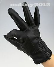 Men's New Genuine Leather Driving Biking Gloves Winter Insulated with Zipper