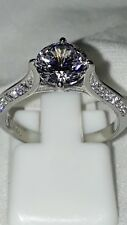 STAINLESS STEEL ENGAGEMENT SIMULATED DIAMOND RING SZ L USA 6