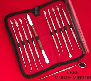 DENTAL KIT 10 LECRON WAX CARVER CARVING TOOL LABORATORY INSTRUMENT MOUTH MIRROR