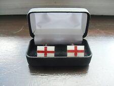Boxed St George Cross Patriotic Quality  Enamel Cufflinks, Size 20 x 12 mm