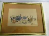 ORIGINAL ARTIST SIGNED WATERCOLOR PAINTING of TURKEY & HENS CAN'T READ SIGNATURE