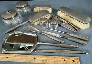 13 PIECE ANTIQUE STERLING SILVER DRESSERWARE SET  WEBSTER CO EARLY 1900's MONO F