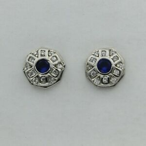Sim. Blue SAPPHIRE Round Post Earrings with CZs 925 STERLING SILVER Rhodium #1s