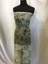 "NEW 100% Silk Crinkle Chiffon Floral Print Fabric 59"" 150cm Dress Scarf"