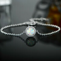 Classical Round Cut White Fire Opal Gemstone Silver Bangle Chain Bracelets 8""