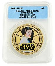 2011 Star Wars Princess Leia 24K Gold Plated Perfect Coin! Anacs Pr70