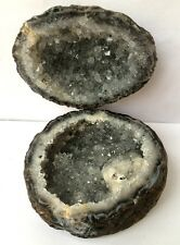 406g 1 PAIR Natural Mineral sample Geode agate Cave,cornucopia  D541