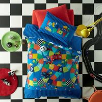 Start Your Engines Racing Car Blue Boy's SINGLE Size Quilt Doona Cover Set