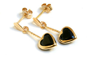 9ct Gold Sapphire earrings Heart Drop Gift Boxed Made in UK Birthday