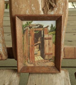 Vintage Outhouse Painting Signed X. G. Texas Artist Xavier Gonzalez