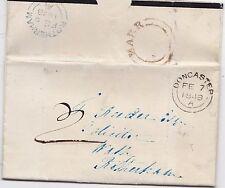 * 1848 UNPAID LETTER JOHN GINLEY EX HAMPOLE UDC MARR & DONCASTER PMKS >ROTHERHAM