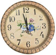 Extragroß 45cm Rund Wanduhr mit Quarz Uhrwerk Kupfer Rahmen Blumenmuster