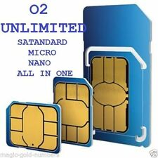 OFFICIAL O2 PAY AS YOU GO 02 SIM CARD STANDARD/MICRO/NANO UNLIMITED CALLS & TEXT
