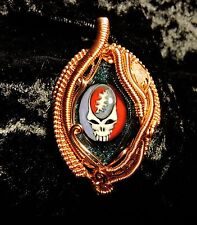 Grateful Dead Wirewrap Pendant art glass crystal deadhead gift steal your face