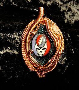 Grateful Dead Wirewrap Pendant art glass crystal deadhead gift steal your face